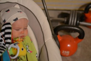 explaining exercise to a baby, kettlebells, workout, fitness