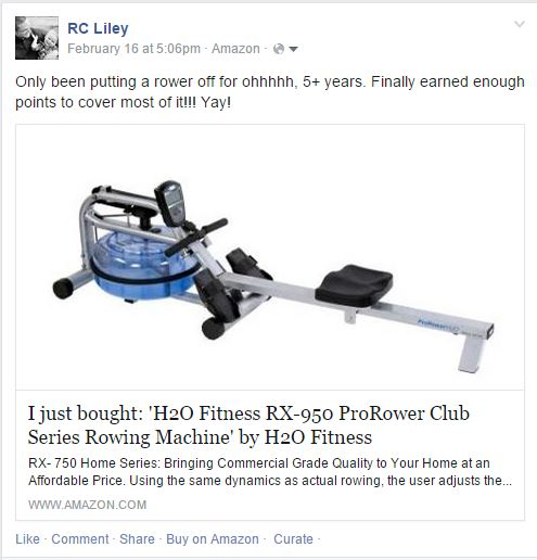Rower Purchase Shared on FB