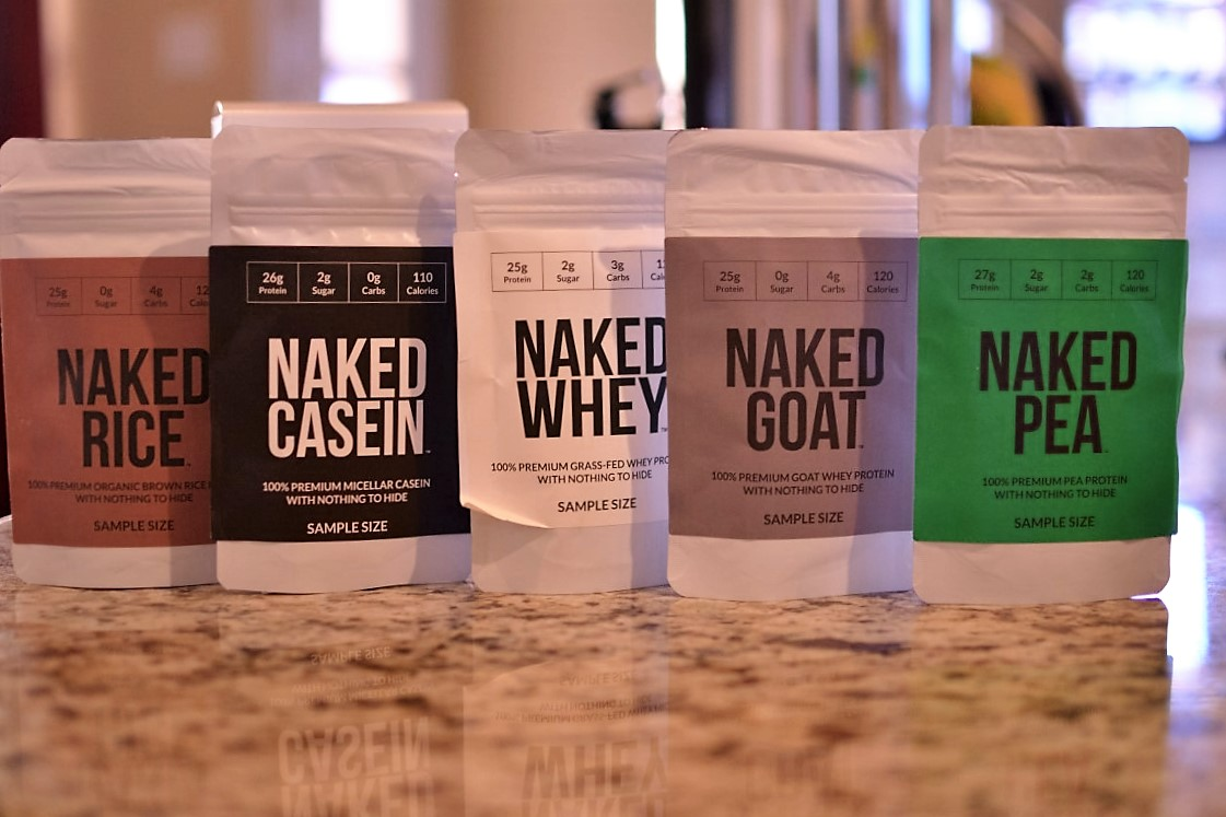 naked nutrition protein powders sample pack, non-gmo, muscle, vegan, vegetarian