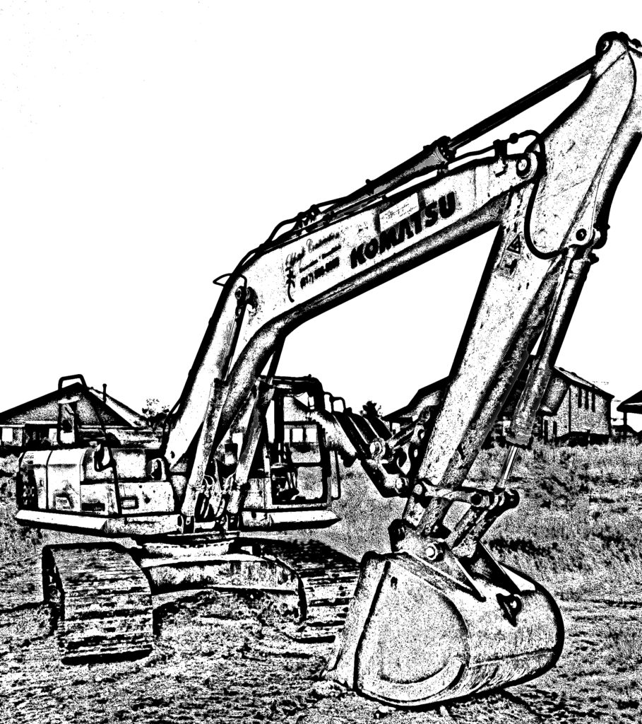 Excavator_Full Front Shot_B&W Cartoon