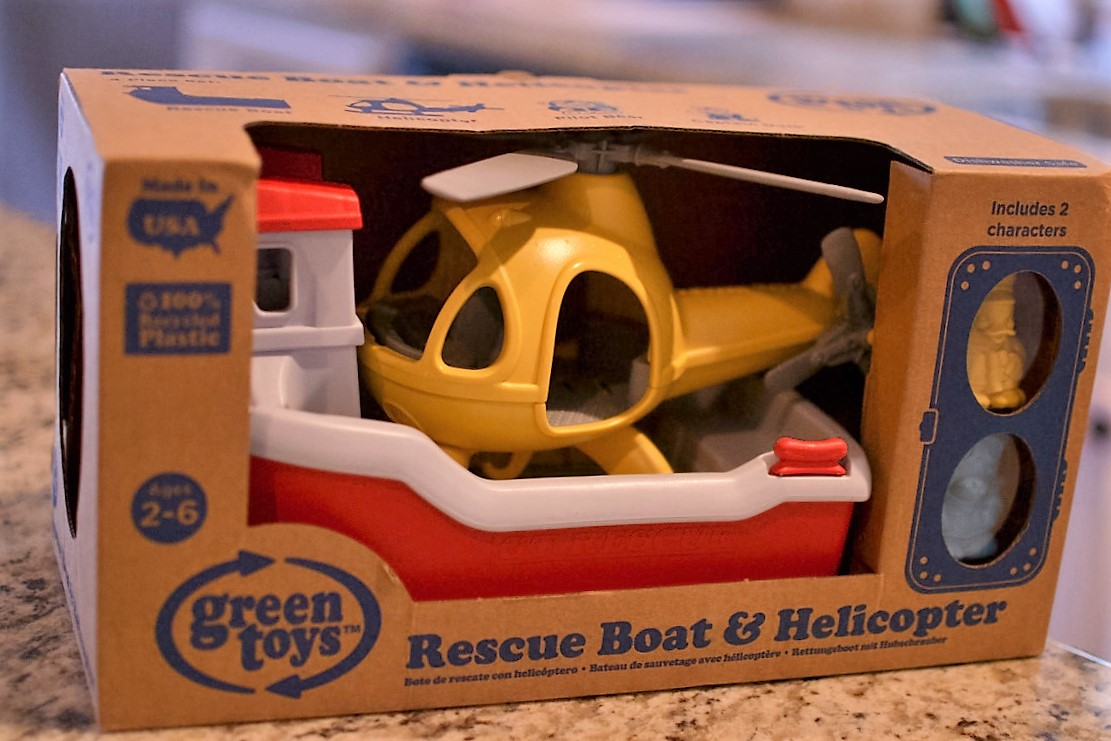 green toys, giveaway, rescue boat, helicopter, eco-friendly